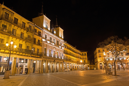 SEGOVIA, SPAIN, APRIL - 13, 2016: The Plaza Mayor square at night.