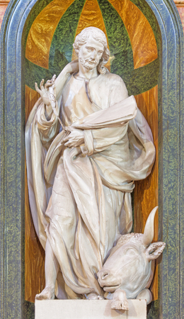 polychrome: SEGOVIA, SPAIN, APRIL - 14, 2016: The carved polychrome baroque statue of st. Luke in Cathedral Nuestra Senora de la Asuncion. Editorial