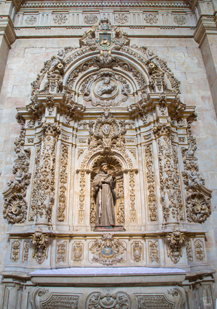 of assisi: SALAMANCA, SPAIN, APRIL - 17, 2016: Baroque side altar of st. Francis of Asissi in church Capilla de San Francesco by unknown artist.