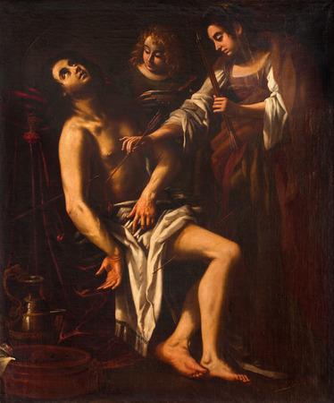 ROME, ITALY - MARCH 12, 2016: The painting of death of St. Sebastian in church Basilica di Santi Quattro Coronati by Giovanni Baglione (1566 - 1643). Editorial