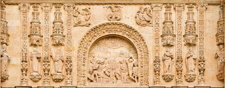 SALAMANCA, SPAIN, APRIL - 17, 2016: The Lapidate of st. Stephen as the detail from portal of Convento de San Esteban by Juan Ribero de Rada (1590 - 1592) inspirated by Italian renaissance. Editorial