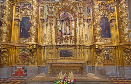 SEGOVIA, SPAIN, APRIL - 14, 2016: The baroque altar of St. Anthony in Cathedral of Our Lady of Assumption designed by Jose Vallejo Vivanco (1615). Editorial