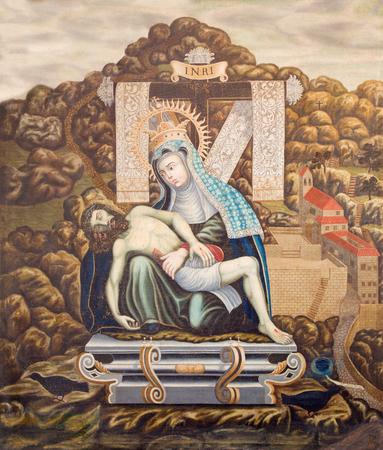 convento: SALAMANCA, SPAIN, APRIL - 16, 2016: The painting of pieta in church monastery Convento de San Esteban by unknown artist of 16. cent. Editorial