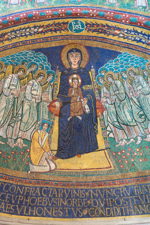 paschal: ROME, ITALY - MARCH 10, 2016: The apse mosaic of Madonna among the angels in byzantine style in Basilica di Santa Maria in Dominica from the 9. cent. commissioned by Pope Paschal I by unknown artist.