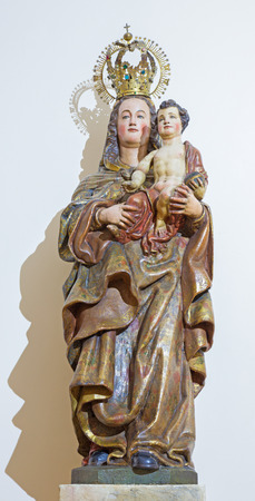 convento: SALAMANCA, SPAIN, APRIL - 16, 2016: The carved polychrome statue of Madonna in Convento de San Esteban by unknown artist of 17. cent.