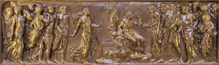 samaritans: ROME, ITALY - MARCH 9, 2016: The bronze relief Christ and the Samaritan in Chigi chapel in church Basilica di Santa Maria del Popolo by Lorenzetto (1522).