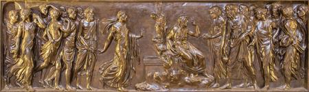 ROME, ITALY - MARCH 9, 2016: The bronze relief Christ and the Samaritan in Chigi chapel in church Basilica di Santa Maria del Popolo by Lorenzetto (1522).