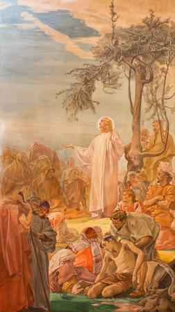 BRESCIA, ITALY - MAY 22, 2016: The fresco Sermon of Jesus on the mount in church Chiesa di Christo Re Editorial