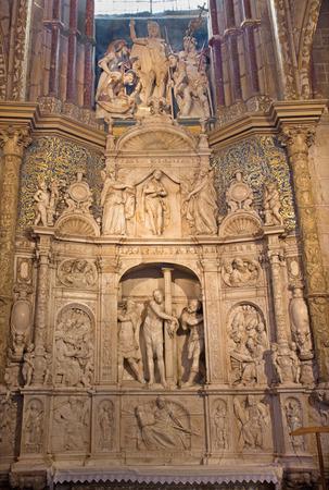 flagellation: AVILA, SPAIN, APRIL - 18, 2016: The marble sculpture of Flagellation of Christ in sacristy of Catedral de Cristo Salvador on the altar by Isidro de Villoldo, Juan Frias and Pedro de Salamanca (1555). Editorial