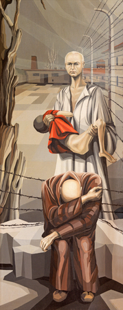 concentration camp: BRESCIA, ITALY - MAY 22, 2016: The painting of holy martyr Maximilian Kolbe in the concentration camp Oswiecim in church Chiesa di San Francesco dAssisi by A. Girardi (1984).