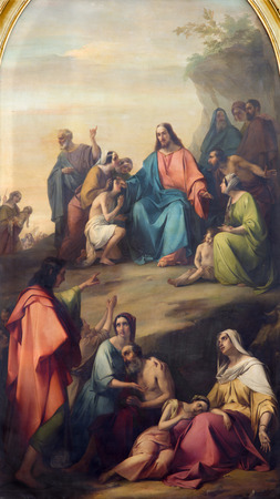 BRESCIA, ITALY - MAY 22, 2016: The panting of Sermon of Jesus in Duomo Nuovo by Michelangelo Grigoletti after (1801 - 1870)