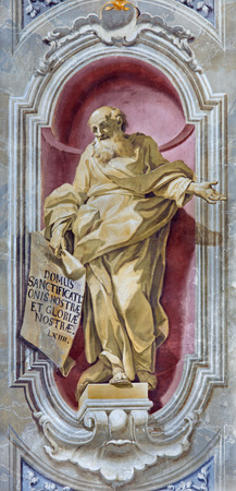 BRESCIA, ITALY - MAY 23, 2016: The fresco of prophet Isaiah of Chiesa di Sant'Afra church by Sante Cattaneo (1739 - 1819)