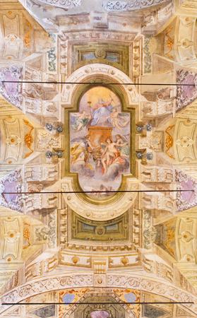 chiesa: BRESCIA, ITALY - MAY 21, 2016:  The ceiling fresco with the God the Father in church Chiesa di San Giorgio by Pietro Sorisene e Pompeo Ghitti (1631 - 1703).