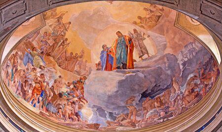 BRESCIA, ITALY - MAY 22, 2016: The fresco of Last Judgment on cupola in church Chiesa di Christo Re by Vittorio Trainini (1936) Sajtókép