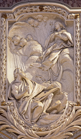christendom: ROME, ITALY - MARCH 10, 2016: The relief of Vision Virgin from Apocalypse of St. John the evangelist in church Basilica di San Marco by Rene - Michel Slodtz (1705 - 1764).
