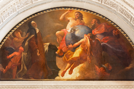 chiesa: BRESCIA, ITALY - MAY 22, 2016: The painting St. Theriesia at the contemplation of Holy Trinity in Chiesa di San Pietro in Olvieto by Angelo Trevisani (1696).