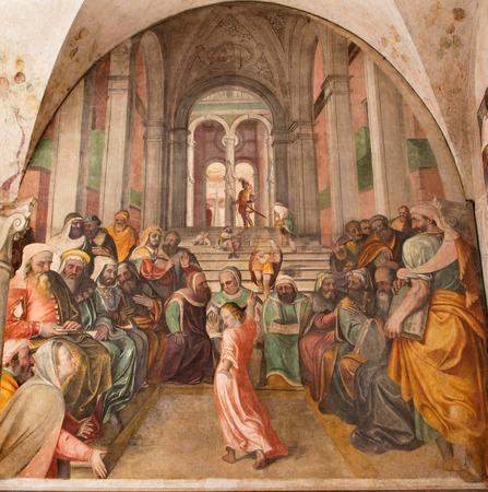 scribes: BRESCIA, ITALY - MAY 21, 2016: The fresco Twelve old Jesus in the Temple by Lattanzio Gambara ( 1530 - 1574) in church Chiesa del Santissimo Corpo di Cristo.