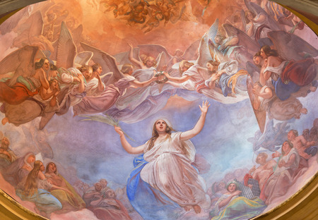 sant agata: CREMONA, ITALY - MAY 24, 2016: The Apotheosis of St. Agata fresco on the cupola in church Chiesa di Santa Agata by Giovanni Bergamaschi from end of 19. cent. Editorial