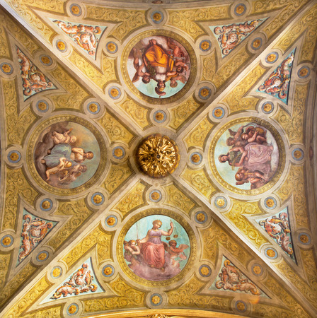 symbolic: CREMONA, ITALY - MAY 25, 2016: The ceiling fresco of symbolic four virtues in The Cathedral by unknown artist of 17. cent.