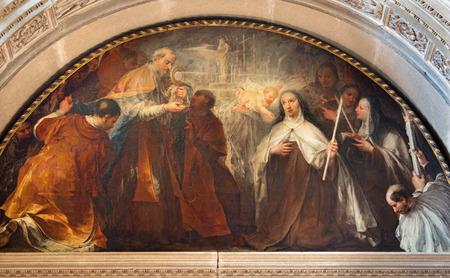 carmelite nun: BRESCIA, ITALY - MAY 22, 2016: The painting St. Theresa of Avilas vision of little Jesus in the Eucharist in Chiesa di San Pietro in Olvieto by Andrea Celesti (1696). Editorial