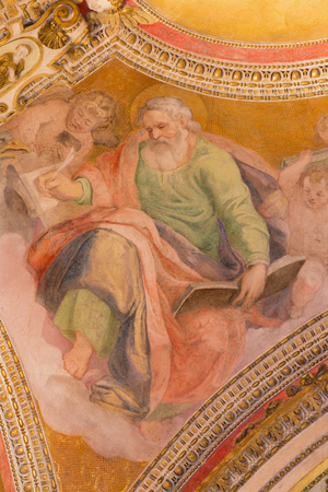 ROME, ITALY - MARCH 9, 2016: The fresco of St. Matthew the Evangelist from ceiling of side chapel of church Basilica di Santa Maria del Popolo by unknown artist of 16. cent.