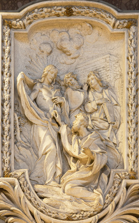 christendom: ROME, ITALY - MARCH 10, 2016: The relief of  The Incredulity of St Thomas by Carlo Monaldi in church Basilica di San Marco (1741).