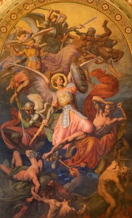 leopold: VIENNA - JULY 27: Archangel Michael and war with the bad angels  scene by Leopold Kupelwieser from 1860 in nave of Altlerchenfelder church on July 27, 2013 Vienna.