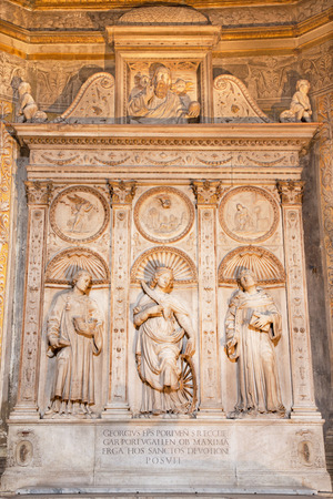 katherine: ROME, ITALY - MARCH 9, 2016: The marble altar of Costa chapel in church Basilica di Santa Maria del Popolo (St. Vincent, Katherine of Alexandria and Anthony of Padua) by Gian Cristoforo Romano (1505).