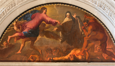 carmelite nun: BRESCIA, ITALY - MAY 22, 2016: The painting St. Theresa of Avilas vision of hell  in Chiesa di San Pietro in Olvieto by Giuseppe Tortelli (1696). Editorial