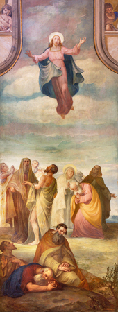 re: BRESCIA, ITALY - MAY 22, 2016: The fresco of Ascension of the Lord in church Chiesa di Cristo Re by Pietro Servalli (1883-1973).