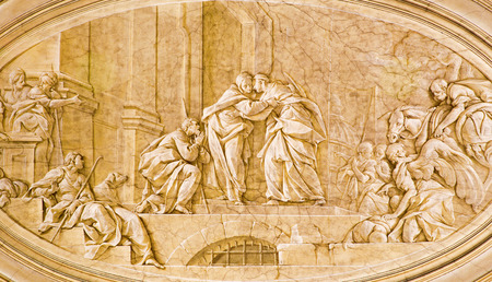 pace: BRESCIA, ITALY - MAY 22, 2016: The monochromatic fresco of Visitation in church Chiesa di Santa Maria della Pace by Francesco Monti (1738). Editorial