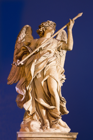 lance: ROME, ITALY - MARCH 9, 2016: Angel with the Lance by Domenico Guidi, Ponte SantAngelo - Angels bridge