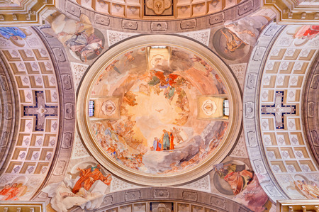 re: BRESCIA, ITALY - MAY 22, 2016: The cupola in church Chiesa di Christo Re with the frescoes by Vittorio Trainini (1936) Editorial