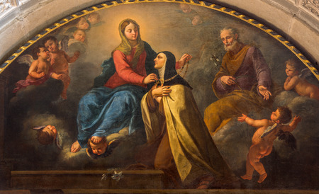 BRESCIA, ITALY - MAY 22, 2016: The painting St. Theresia getting from Madonna the gold necklace in Chiesa di San Pietro in Olvieto by D. Carretto (1696).