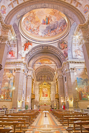 re: BRESCIA, ITALY - MAY 22, 2016: The nave of church Chiesa di Christo Re with the frescoes by Vittorio Trainini (1936).