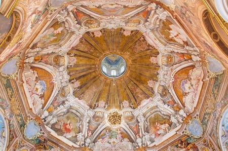 symbolic: BRESCIA, ITALY - MAY 21, 2016: The fresco of cupola with the symbols of cardinal virtues in Chiesa di Santa Maria della Carita by Ferdinando Cairo and Luigi Vernazal from 18. cent.