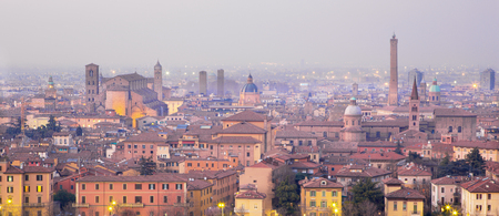 Bologna - Outlook to Bologna old town from church San Michele in Bosco in evening dusk
