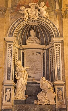 fortitude: ROME, ITALY - MARCH 10, 2016: The marble Memorial to cardinal Pietro Basadonna in church Basilica di San Marco by Filippo Carcani (1657 - 1686). The figures are Fortitude on right, and Faith on left.