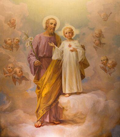 Rzym, Włochy - 12 marca 2016: Farba Świętego Józefa przez E. Ballerini (1941) w kościele Chiesa di Nostra Signora del Sacro Cuore.