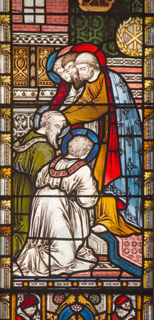 barnabas: ROME, ITALY - MARCH 9. 2016: The Apostles giving the blessing to St. Paul and Barnabas in Jerusalem. The stained glass of All Saints Anglican Church by workroom Clayton and Hall (19. cent.) Editorial