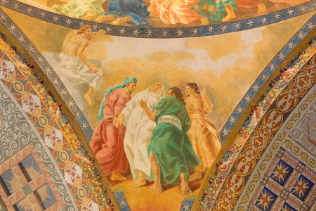 melle: ROME, ITALY - MARCH 10, 2016: The detail of Dormition of Virgin Mary fresco (1957-1965) in cupola of church Basilica di Santa Maria Ausiliatrice by the Salesian priest and artist Don Giuseppe Melle.
