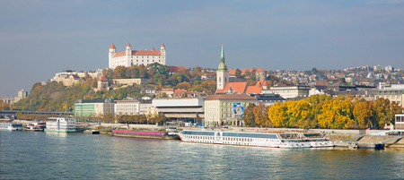 BRATISLAVA, SLOVAKIA, OCTOBER - 27, 2016: The waterfront, cathedral and castle - panorama