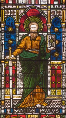 new testament: ROME, ITALY - MARCH 9. 2016: St. Paul the apostle on the windowpane of All Saints Anglican Church by workroom Clayton and Hall (19. cent.) Editorial