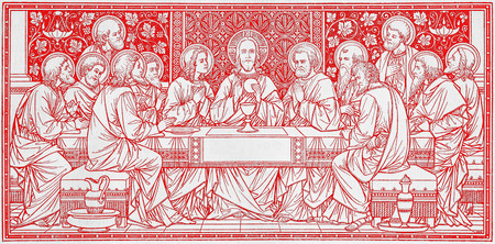 lithography: BRATISLAVA, SLOVAKIA, NOVEMBER - 21, 2016: The lithography of Last Supper in Missale Romanum by unknown artist with the initials F.M.S from end of 19. cent. and printed by Typis Friderici Pustet. Editorial