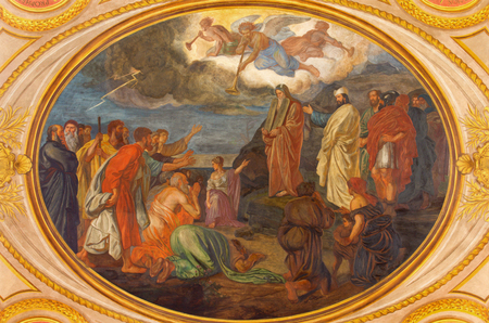 anton: VIENNA, AUSTRIA - DECEMBER 19, 2016: Moses on the Mount Sinai fresco in church Kirche St. Laurenz (Schottenfelder Kirche) designed by Leopold Schulz, Ignaz Schonbrunner and Anton Roux (1869 - 1871). Editorial
