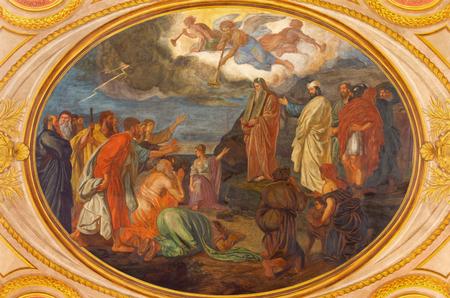 monte sinai: VIENNA, AUSTRIA - DECEMBER 19, 2016: Moses on the Mount Sinai fresco in church Kirche St. Laurenz (Schottenfelder Kirche) designed by Leopold Schulz, Ignaz Schonbrunner and Anton Roux (1869 - 1871). Editorial