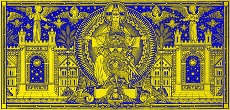 lithography: BRATISLAVA, SLOVAKIA, NOVEMBER - 21, 2016: The lithography of Holy Trinity in Missale Romanum by unknown artist with the initials F.M.S from end of 19. cent. and printed by Typis Friderici Pustet.