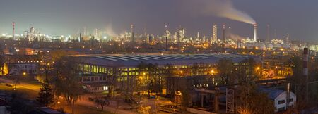Bratislava - The panorama of oil refinery Slovnaft in Slovakia in evening dusk Editorial