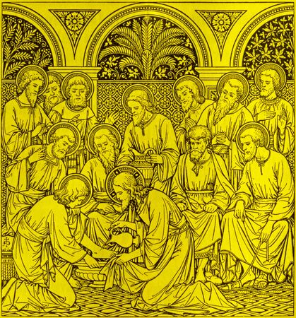 lithography: BRATISLAVA, SLOVAKIA, NOVEMBER - 21, 2016: The lithography of Last Supper in Missale Romanum by unknown artist with the initials F.M.S (1890) and printed by Typis Friderici Pustet.