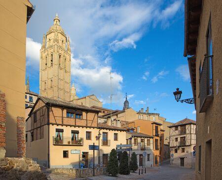 SEGOVIA, SPAIN, APRIL - 14, 2016:  Plazuela del Sororro square and the Cathedral Tower Editorial